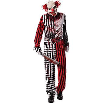 Mens Evil Scary Clown Circus Halloween Outfit Fancy Dress Costume