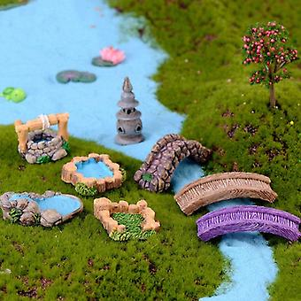 Diy hage innredning ornament - fairy hage håndverk mini fyr vann godt bro figurer miniatyr