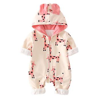 Infant Cotton Romper Long Sleeves Hooded Zipper Snap Button Thick One Piece