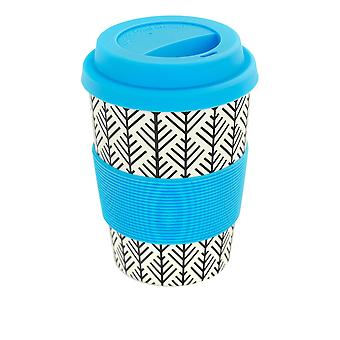 Rink Drink Bamboo Reusable Coffee Cup with Silicone Lid & Sleeve - 350ml - Aztec Leaf - Blue