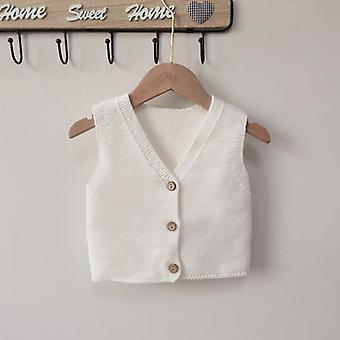 Autumn Baby Vest Single Breast Knitwear V Neck, Baby Sleeveless Sweater- Baby