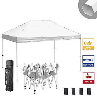 Instahibit 10x15 ft Pop Up Canopy Tent CPAI-84 Commercial Trade Fair Ez up Canopy Shade Party Tent 1680D Roller Bag