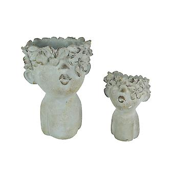 Pair of Pucker Up Kissing Face Weathered Finish Concrete Head Planters Small and Large