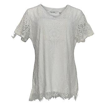 Isaac Mizrahi Live! Women's Top Split Neck Lace Knit Tunic White A354775