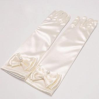Long Satin Gloves For Flower White Charm Birthday Party Gloves Kids's