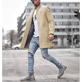 Männer Einfarbig Casual Wool Mantel lange Mischungen Winter Casual Overcoat