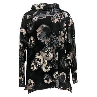 Cuddl Duds Women's Sweater Fleecewear Mock Neck Pullover Top Black A293094