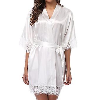 Short Satin Bride Robe Sexy Wedding Dressing Gown Lace Silk Summer Bridesmaid