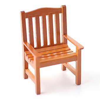 Dolls House Walnut Garden Chair Miniature Wooden Garden Patio Meubles 01:12