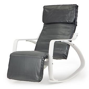 Fotel na bujane krzesło z podnóżkiem - eko-skórzany szary z bielą
