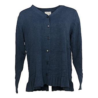 Coleção Joan Rivers Classics Women's Sweater Ruffle Hem Blue A309634