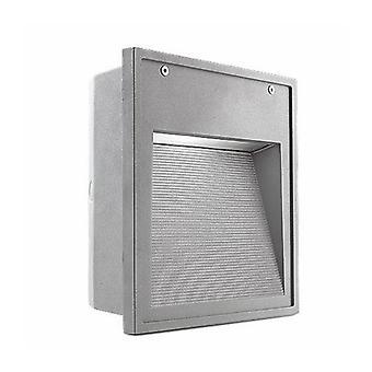 Aplique Fluorescente Micenas 25 Cm, Aluminio Y Vidrio, Gris