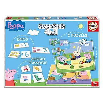 Koulutus peli Peppa Pig SuperPack 4 in 1 Educa