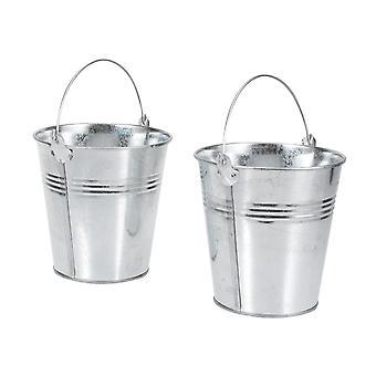 6x metalen emmers en potten mini emmer blikken voor boom planten, bruiloft, feest
