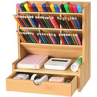 Bamboo Pen Organiser, Multi-Functional Desk Tidy Organiser with Drawer, Pen Holder for Desk,Pen