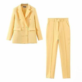 Keltainen Bleiseri sopii naisten ylis koko takki ja hight vyötärö pitkät housut