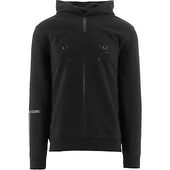 Armani Exchange Black Regular Fit Hooded Sweatshirt
