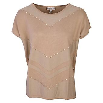 Passioni Beige Fine Knit Short Sleeve Top With Pearl Embellishment