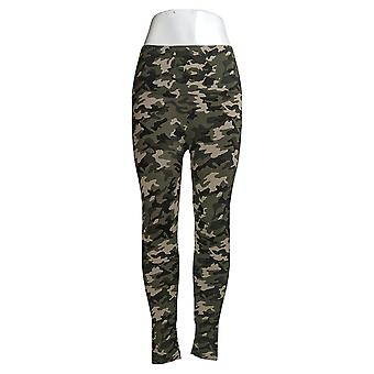 Breezies Leggings Seamless Tummy Smoothing Ankle Length Camo Green A388306