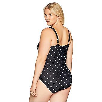 Rannikon sininen naiset ' s plus koon yksiosainen uimapuku, trooppinen painatus, 3X (24W-26W)