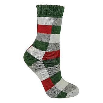 Bayanlar Damalı Yün / İpek Karışımı Çorap