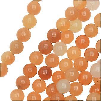 حبات الأحجار الكريمة، أفينتورين، جولة 6mm، 15 بوصة ستراند، البرتقالي الأحمر