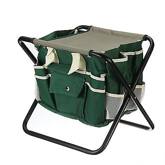 Folding Kneeler Seat Oxford Cloth Camping Chair Fishing Seat With Detachable Storage Organizer Tool Tote Bag For Home Garden Yard