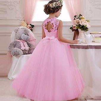 Back Hollow Elegant Flower Lace Banquet Dress
