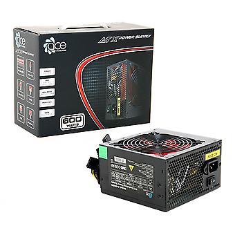 PSU ACE 600W BR con ventilador rojo de 12 cm y PFC (negro)