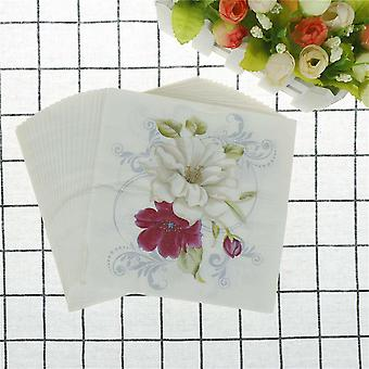 Red White Flower Lily Printed Napkins Paper