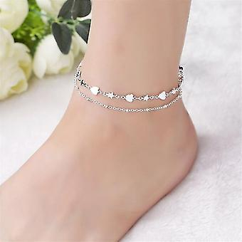 nová móda 925 šterlingov strieborný anklet jemné šperky srdce noha reťaz sm701
