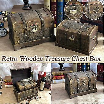 Retro houten piraat schatkist doos gem sieraden case opslag organisator trinket aandenken schat