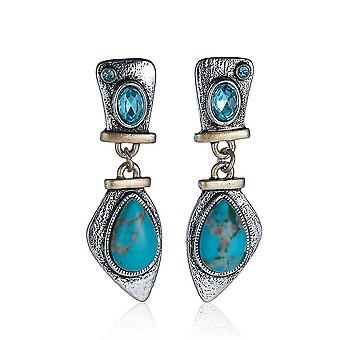 Earrings S925 Antique Silver Turquoise Plated Inlaid With Highland Crystal Eardrops For Ball
