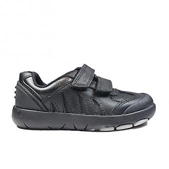 Clarks Rex Stride Toddler Black Leather Boys Rip Tape School Shoes