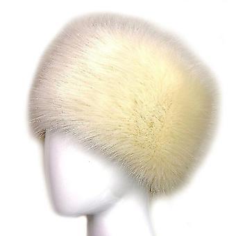 Lady Faux Fox Fur Kasakka tyyli talven lämpimät hatut (Beige)