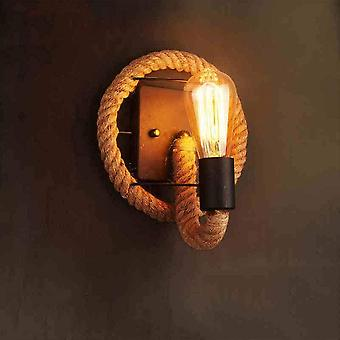 Vintage-retro Wall Light In The Shape Of An American Style Hemp Rope - Industrial Lamp In Iron(no Light Source)