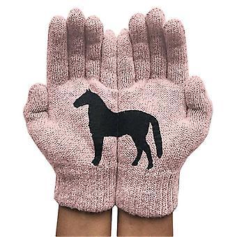 - Jag är inte så bra på det här. Kvinnors svarta hästtryckhandskar Vinter varm förtjockning Roliga vantar Utomhus