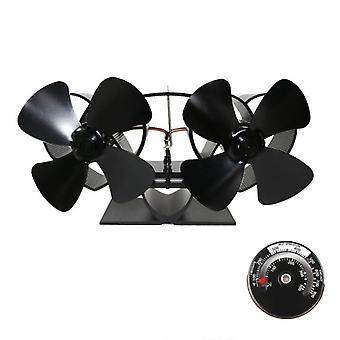 Fireplace Fan Dual Head 8 Blades Heat
