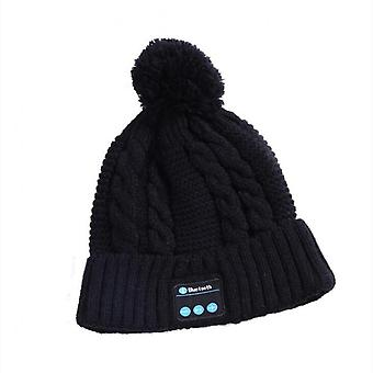 V5.0 Knitted Hat With Ball Wireless Call Music Stereo Sound Bluetooth Hat Black