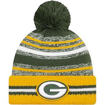 New Era Green Bay Packers NFL-sivuraja 2021 Neulottu Beanie Bobble Hat - Vihreä