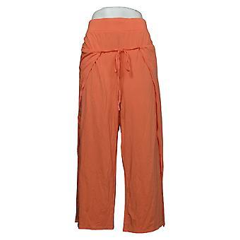 Modern Soul Women's Pants Plus Cropped Tie-Front Orange 690092