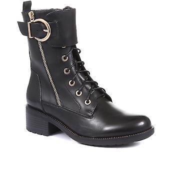 Regarde Le Ciel Womens Emily Leather Buckle Biker Boots