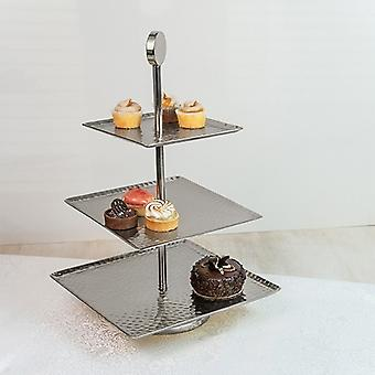 Hammered Square Shaped Three Tier Stand