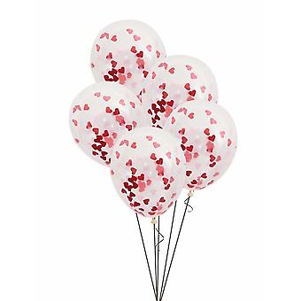 """Unique Party 57081 - 16"""" Red and Pink Heart Valentine Confetti Balloons, Pack of 5"""