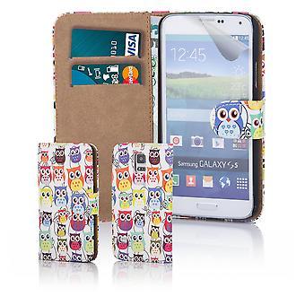 Unterhaltsame Buch Brieftasche Gehäusedeckel für Samsung Galaxy S5 G900 - Multi-Eule