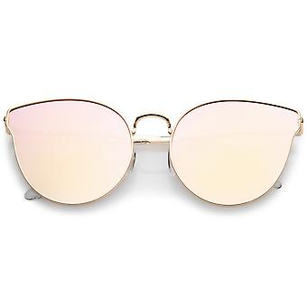 Premium Metal Cat Eye Sunglasse With Slim Arms And Round Pink Mirror Flat Lens 54mm