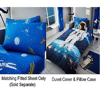 Astronaut Space Kids Boys Single Duvet Quilt Cover Children Bedding Set