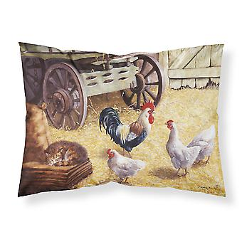 Rooster and Hens Chickens in the Barn Fabric Standard Pillowcase