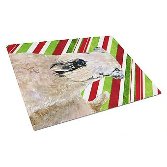 Wheaten Terrier Soft Coated Candy Cane  Christmas Glass Cutting Board Large