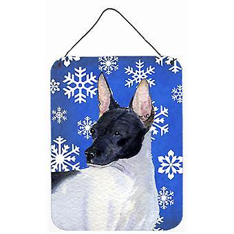 Rotta terrieri talvella lunta Holiday Wall tai ovi roikkuu tulosteita